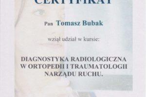 Certyfikat Diagnostyka Radiologiczna w Ortopedii i Traumatologii Narządu Ruchu