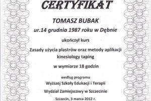 Certyfikat Kinesiology Taping