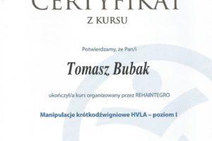 Certyfikat Manipulacje krótkodźwigniowe HVLA- poziom I