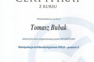 Certyfikat Manipulacje krótkodźwigniowe HVLA-poziom II