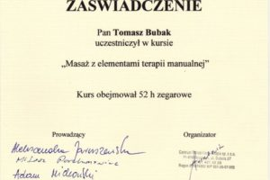 Certyfikat Masaż z elementami terapii manualnej