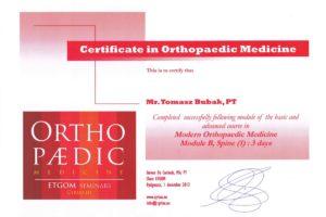 Certyfikat Nowoczesna Medycyna Ortopedyczna wg CYRIAX'A moduł A