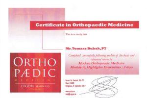 Certyfikat Nowoczesna Medycyna Ortopedyczna wg CYRIAX'A moduł B