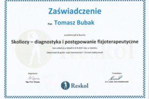 Certyfikat Skoliozy- diagnostyka i postępowanie fizjoterapeutyczne