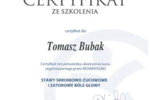 Certyfikat Stawy skroniowo-żuchwowe