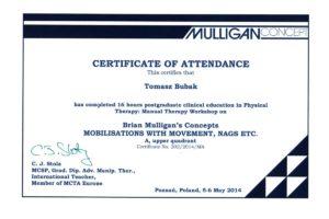 Certyfikat Terapii Manualnej wg Koncepcji Briana Mulligana , moduł A
