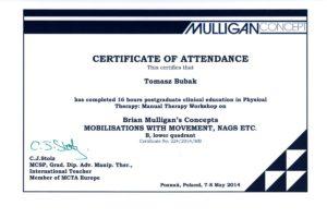 Certyfikat Terapii Manualnej wg Koncepcji Briana Mulligana , moduł B