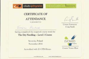 Certyfikat The Dry Needling